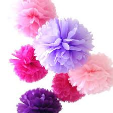 tissue paper 7 mixed size tissue paper pom pom shades of pink purple dotoly