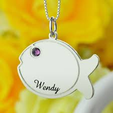 Birthstone Name Necklace Silver Birthstone Name Necklace Engraved Kids Name Fish Pendant