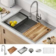 stand alone kitchen sink unit kraus 33 all in one workstation sink and faucet combo