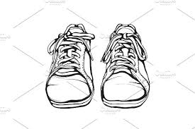 shabby running shoes in black ink illustrations creative market