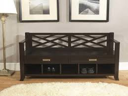 furniture dark stained wood entryway bench with back and rattan