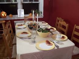 dinner table setting with food