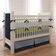 Zig Zag Crib Bedding Set Navy And Citron Zig Zag 2 Crib Bedding Set Carousel Designs
