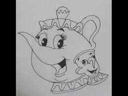 how to draw mrs potts from disney beauty and the beast easy