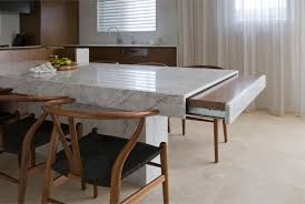 rectangle white granite dining table with storage combined by