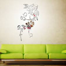 popular flowers mirror wall sticker buy cheap flowers mirror wall plant flower vine pattern acrylic mirror wall stickers home decoration diy gold silver living room wall
