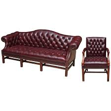 Chesterfield Leather Sofa by 1980s Tufted Burgundy Chesterfield Leather Sofa And Chair Set With