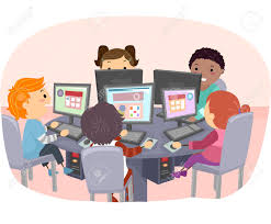 stickman illustration of kids using computers stock photo picture