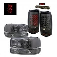 2005 gmc sierra tail lights gmc sierra 1999 2006 smoked headlights and led tail lights brake