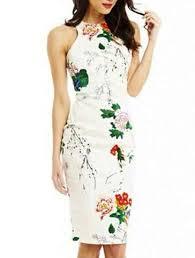 halter shift dress white floral print sleeveless knee