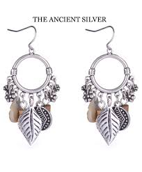 earrings for silver color alloy leaf tassel drop earrings for women