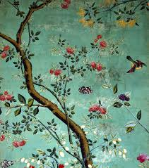 Wallpaper With Birds Chinese Wallpaper Wallpaper With Flowering Shrubs And Fruit Bees
