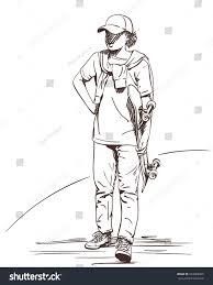 sketch boy teenager cap sweater on stock vector 674068969