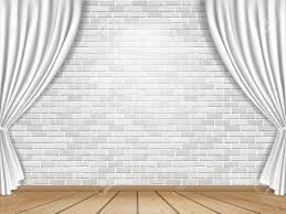 White Curtains Stage With White Curtains On Brick Wall Background Royalty Free