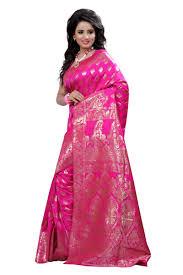 Pink Colour by Buy Self Design Art Silk Pink Colour Banarasi Saree With Blouse