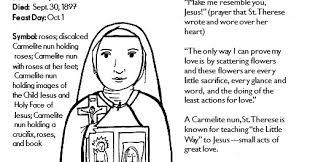 Prayer To St Therese The Little Flower - paper dali saint therese of lisieux coloring page free printable