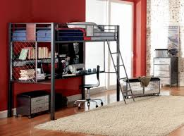 bedroom dark grey iron loft bed with floating desk and book