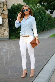 white jeans and chambray shirt wear white after labor day jpg