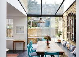 Kitchen Extension Design Slate Flooring And A Bench That Stretches Along One Side Of This