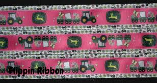 deere ribbon inspired pink deere ribbon 7 8 inch printed grosgrain ribbon