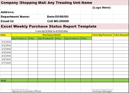 excel weekly purchases status report template u2013 free report templates