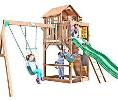 Big Backyard Swing Set Creative Playthings Playtime Seminole Wooden Swing Set
