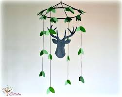 silhouette stag deer mobile woodland baby grey and green nursery