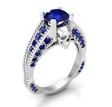engagement rings skull skull engagement ring blue sapphire temple of the ancient