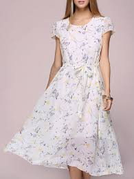 floral print chiffon tea length dress light yellow one size in