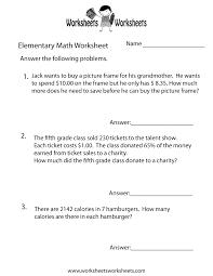 elementary math word problems worksheet free printable amazing
