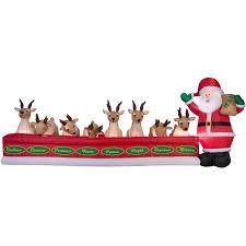animated airblown inflatables 16 5 wide santa feeding 8 reindeer