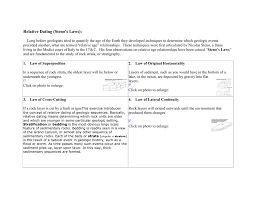relative dating steno s laws