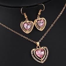 pendant necklace earrings images 3 kinds of design jewelry set austrian crystal love heart pendant jpg