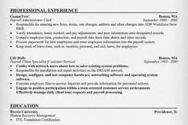 Sample Payroll Resume by Payroll Administrator Resume Reentrycorps