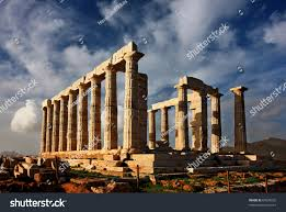 temple poseidon ancient god sea greek stock photo 69078232