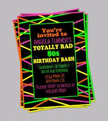 80s birthday invitations 80s invitations neon invites