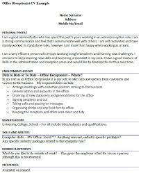 office receptionist cv example u2013 cover letters and cv examples