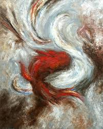the dance of good and evil abstract art oil painting by curtis