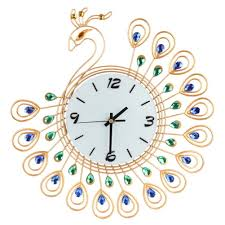 luxury diamond peacock large wall clocks metal living room wall