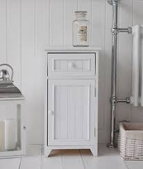 Free Standing Wooden Bathroom Furniture A Crisp White Freestanding Bathroom Storage Furniture A Narrow