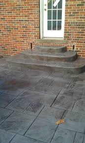 Patio Stone Flooring Ideas by Square Grey Stone Floor Patio With Stair Also Brick Stone Wall