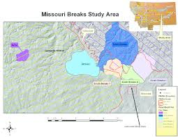 missouri breaks map study area is located within the missouri river breaks in eastern