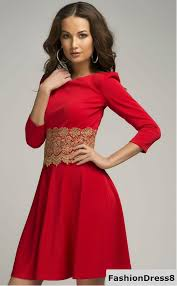 red formal dress short evening flared gown with lace wedding in