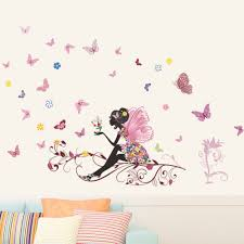 aliexpress com buy butterfly flowers wall stickers for girls aliexpress com buy butterfly flowers wall stickers for girls kids wall decals adhesive family wall stickers mural art home decor from reliable flower wall