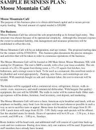 How To Build A Business Plan Template Sample Business Plan Moose Mountain Cafe Pdf