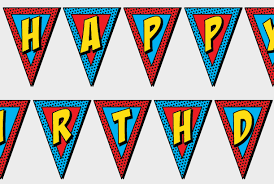 printable superhero happy birthday banner party comic sound
