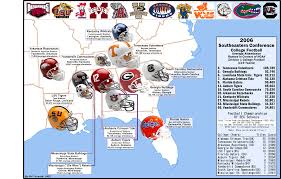 Map Of Alabama And Tennessee by College Football The Sec 2006 Attendance Map Billsportsmaps Com