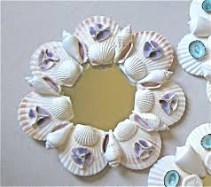 beach decor small shell mirror or candleholder with purple