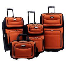 Traveler 39 s choice amsterdam 4pc travel luggage set orange target