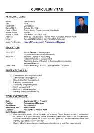 Procurement Sample Resume by Curriculum Vitae Purchasing Manager Virtren Com